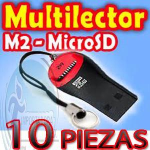 10 piezas adaptador m2 y micro sd a usb 2.0 multi lector