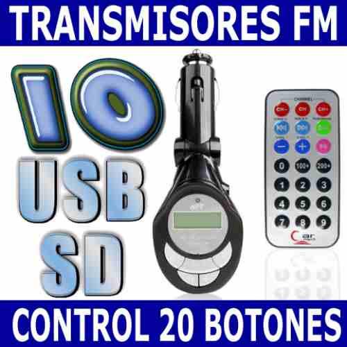10 transmisores fm usb sd celulares mp3 mp4 control remoto