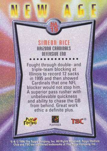 1996 stadium club rookie simeon rice de cards