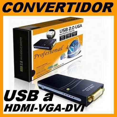 a17 convertidor de video de usb a hdmi, vga y dvi, externo