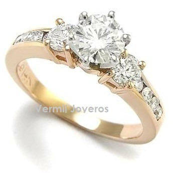anillo compromiso plata con baño de oro de 24k