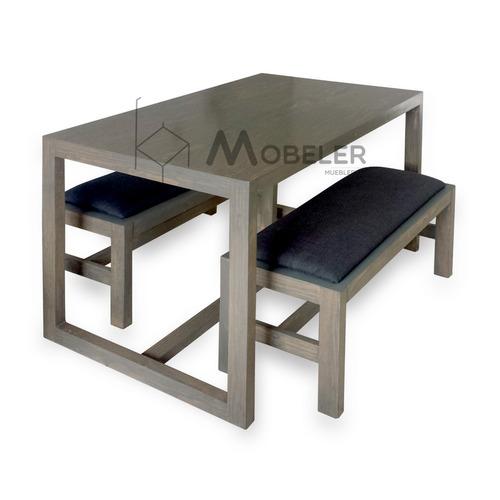 Comedor madera moderno minimalista antecomedor mesa sillas for Sillones para mesa comedor