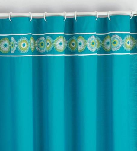 Cortinas De Baño Bordadas:Cortina Para Baño Bordada Carey Azul Vianney Envio Gratis – $ 54900