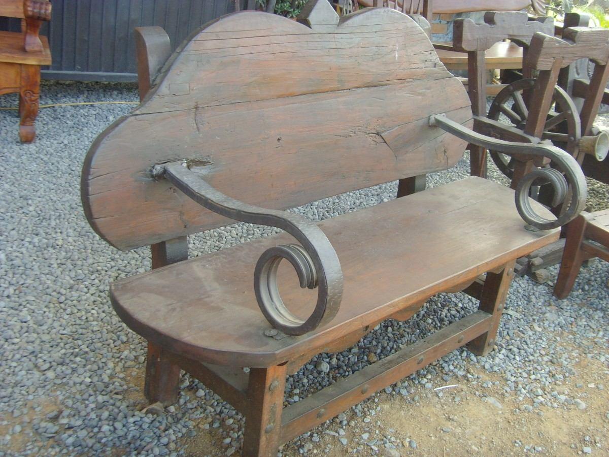 Exclusiva banca de madera y hierro forjado en estilo for Bancas de jardin de madera