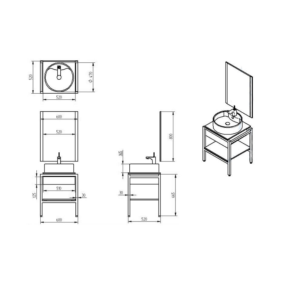 Lavabos Gabinetes Para Baño:Gabinete Baño Lavabo Minimalista Espejo Gb 2035 26a Gravita – $