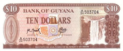 grr-billete de guyana 10 dollars 1992