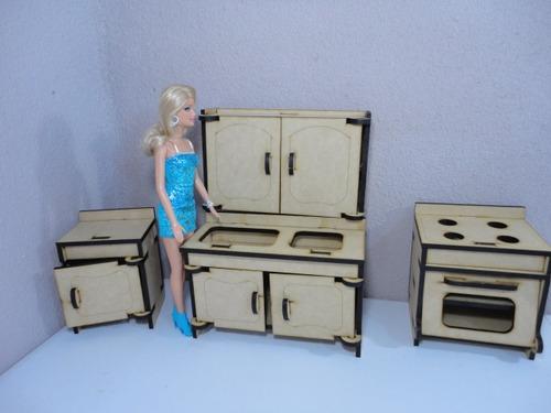 Kit de 31 muebles para barbie hechos en madera mdf for Muebles en madera mdf