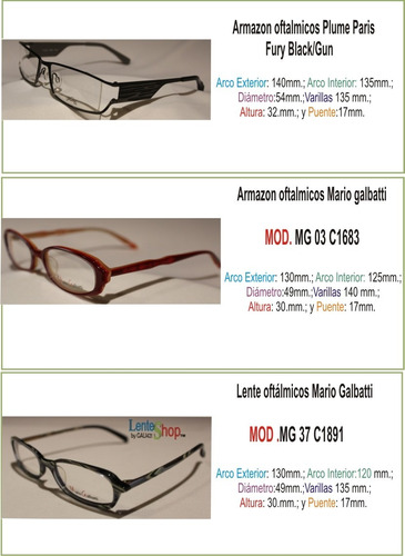 lentes sin armazon frances, mario galbatti mg138/brown