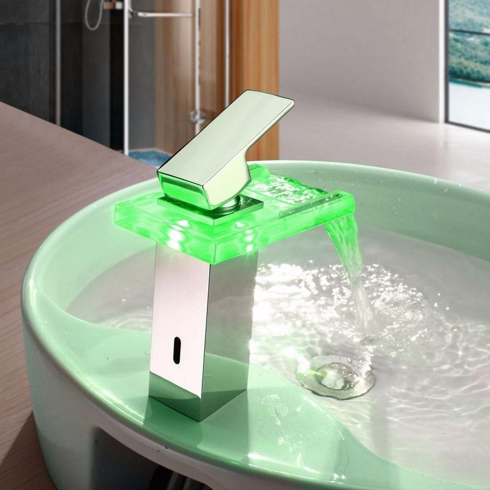 Llave una manijgrifo para ba o luz led cambio de color for Llaves con sensor para bano