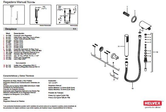 Muebles Para Baño Helvex:Regadera De Baño Helvex Nuva Mod Rm – 12 De Mano Sp0 – $ 3,61300 en