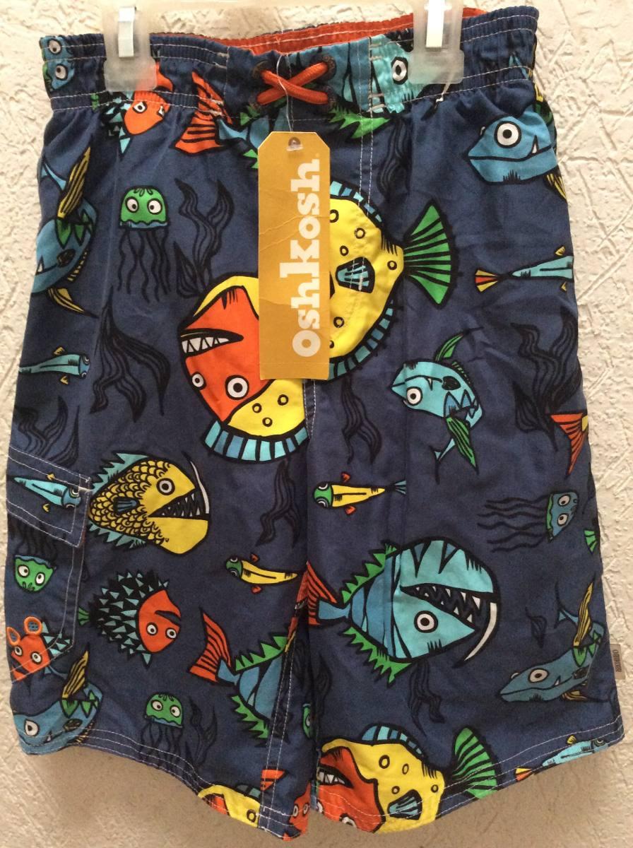 Trajes De Baño Azul Siete:Traje De Baño Short Bermuda Niño Oshkosh Peces Talla 7 Nuevo – $ 450